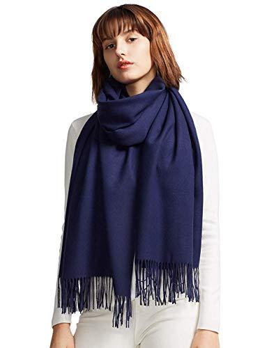 MaaMgic Schal Damen Warm Herbst unifarben Baumwolle mit quasten/fransen, 40+ Farben Einfarbig & Kariert Pashmina xl Schals Stola MEHRWEG Navy Blau