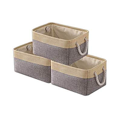 Jtirey Storage Baskets Fabric Baskets [3-Pack] Baskets for Shelves Toy Baskets with Handles, Easy to Carry Organizational Baskets, Baskets for organizing Toys, Clothes, Nursery(13.8L×9.8W×6.7H)