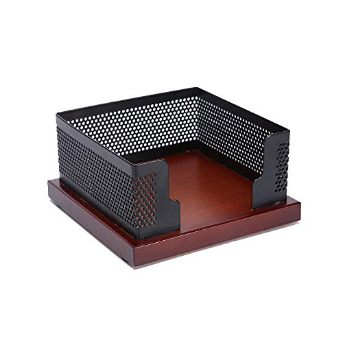 Multibey Sticky Note Pads Memo Paper Holder Wooden Base Black Mesh Cube Dispenser for Office Desk Collection Organizer Nut Brown