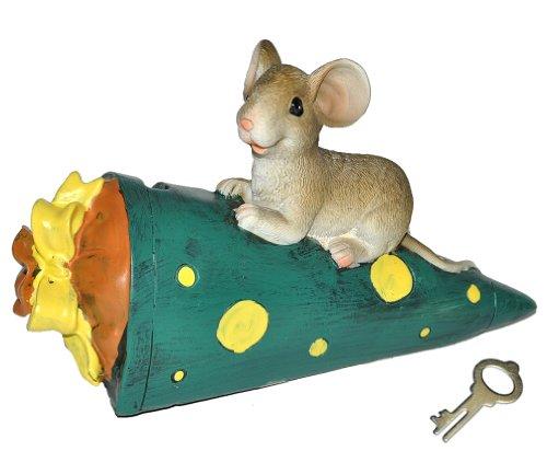 alles-meine.de GmbH Spardose  Maus mit grüner Schultüte / Zuckertüte  - mit Schlüssel - stabile Sparbüchse aus Kunstharz - für Schulanfang Mäuse Geld - ABC Schütze - Schulanfän..