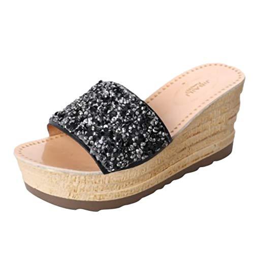 Chaussures Compensées Femme, Tongs Compensees Femmes WINJIN Talons Hauts Chaussures Femme Ete Flip Flops Paillette Grande Taille de 35-40