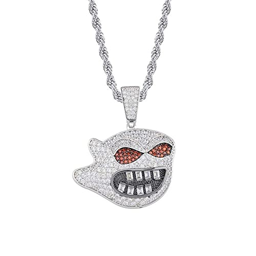BAIYAN Hiphop Collar Collar de Diamante simulado de Cadena de Cadena de Hip Hop Hop Iced out FUT CZ Pendiente para los Regalos del Encanto de los Hombres.