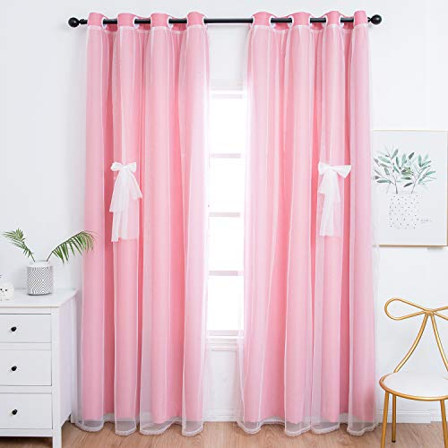 Unistar Blackout and Sheer Curtains for Kids Bedroom Girls Room - Double Layer Darkening Privacy Grommet Top Window Curtains Panels for Living Room, Pink, 52 x 84 Inches Long, 2 Panels