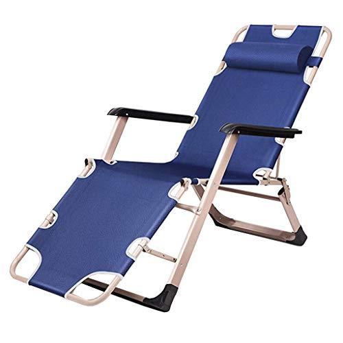 AYHa Taburete al aire libre de descanso de cero gravedad ajustable Silla plegable de Sun sillas reclinables Oxford material de tela y acolchados Reposacabezas,Azul