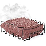 Sparkit Large and Extended Rib Rack for Smoking and Grilling - Non Stick Holds 5 Ribs - Full Ribs No Trimming - No More Stuck Ribs! - Premium Coating - Ultimate Smoker Accessory for Grill