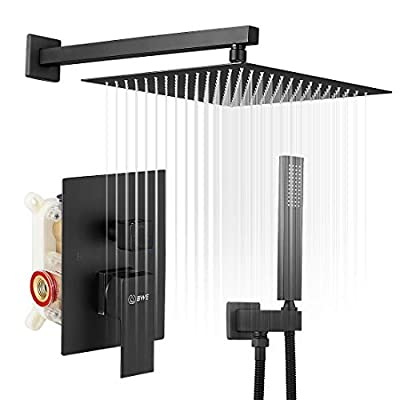 BWE Black Shower Faucet 12 Inch Square Luxury Rain Mixer Shower System Sets complete 2-Functions Pressure Balancing Wall Mount Rainfall Rough-in Valve Body and Trim Included