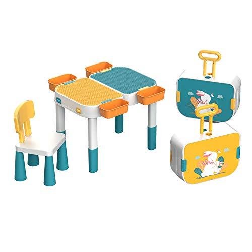 Nye Juego de Mesa de Actividades para niños, Mesa de construcción Multifuncional y Maleta, Equipada con sillas/Bloques de construcción, Compatible con Bloques de construcción clásicos