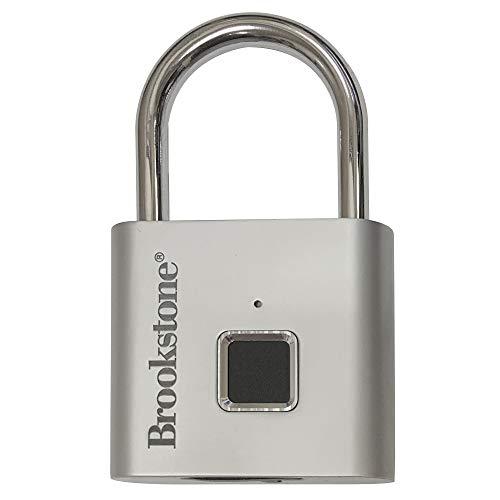 Brookstone Keyless Fingerprint Lock – Anti Theft Biometric Padlock for Luggage, Gym Locker, Fence, Shed, Bike and Storage