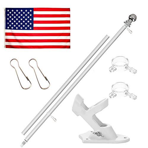 KOOV Flag Pole Kit - 6ft Aluminum Flag Pole Bracket for House, Heavy Duty Flag Pole with Free Flag, for Garden Street Truck Boat Commercial