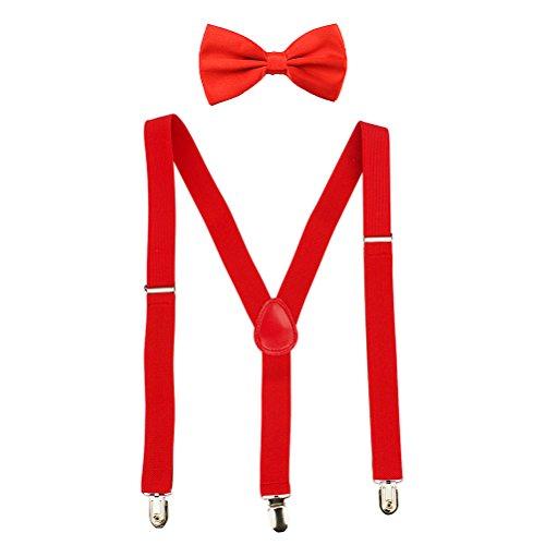 HABI mehrfarbig elastisch Hosenträger Y-Form Länge für Damen und Herren mit den starken Clips Playshoes und Halsschleife Fliege in verschiedenen Designs