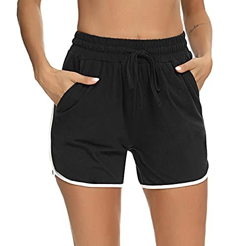 Irevial Pantalones Cortos Ceportivos para Mujer,Leggings Mujer Fitness De Algodón,Mujer Mallas Yoga Alta Cintura Elásticos Push Up Suave