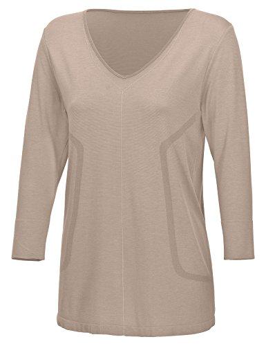 Third of Life Bequemes atmungsaktives Damen Schlafshirt mit Seide | Sleepshirt Subra 3/4 ARM | Seamless – ohne störende Nähte | dreimal weicher als Baumwolle | Nachtwäsche mit Funktion (Nude, M)