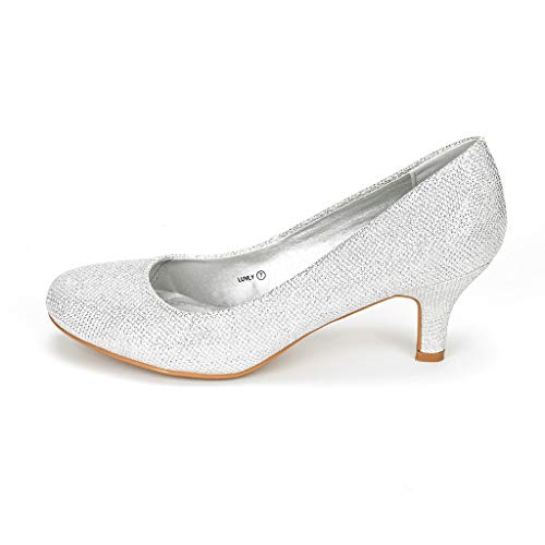 DREAM PAIRS Women's Luvly Silver Bridal Wedding Low Heel Pump Shoes - 6 M US