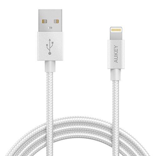 Aukey CB-D16 Lightning, Cable de carga y sincronización en nylon libre, Gris, 1.2 m