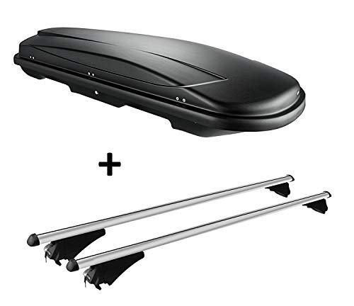 VDP Skibox schwarz Juxt 400 lit + Relingträger Alu kompatibel mit VW Passat B8 Variant ab 14