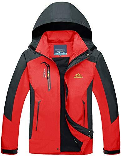 TACVASEN Herren Leichte Wasserdichte Softshell Jacke mit Abnehmbarer Kapuze, Rot, DE L