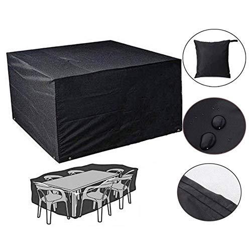 JS-YHLUSI Couvercle de Protection, Meubles Table Chaise Dust Guard (Upgrade), Tissu Oxford 600D Imperméable Anti-UV, Convient à De Plein air Jardin,Black,120 * 120 * 74cm