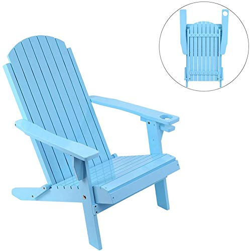 ZDYLM-Y Solid Wood Folding and Reclining Adirondack Chairs, Heavy Duty Weatherproof Patio Chair, for Outdoor Beach,Blue