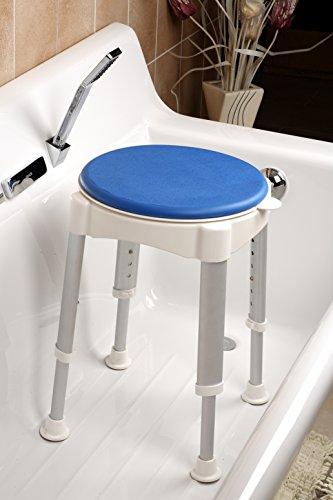LOMOS justerbar höjd badkar och duschpall med roterande säte, stoppfunktion och SoftPad