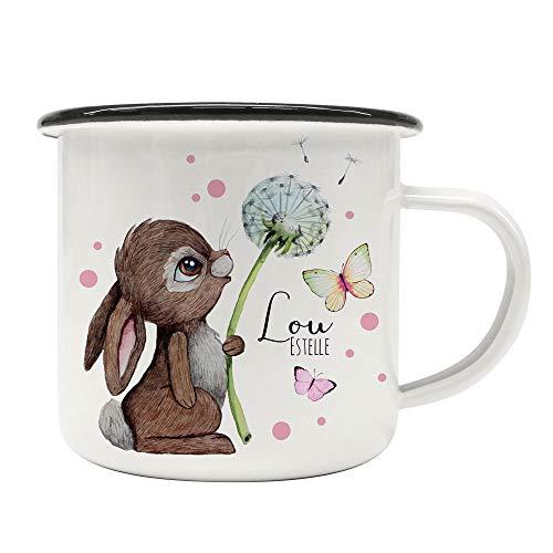 Emaille Becher Camping Tasse Motiv Hase Häschen Pusteblume Schmetterlinge rosa Punkte & Wunschname Name Kaffeetasse Geschenk eb490 - ausgewählte Farbe: *schwarzer Becherrand*