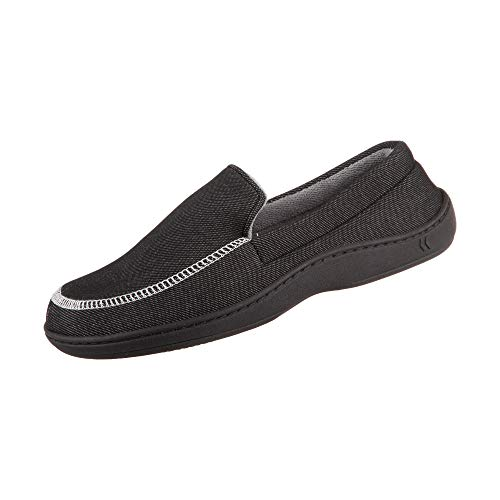 isotoner Chandler Men's Moccasin Slippers, Memory Foam, Indoor/Outdoor Sole, Black, Medium