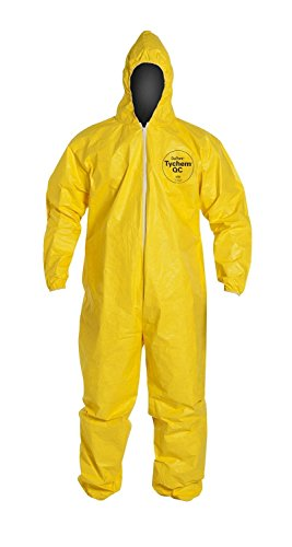 DuPont Tychem 2000 QC127B Disposable Chemical Resistant Coverall with Hood, Elastic Cuff and Bound Seams, Yellow Large(Retail Pack of 1)