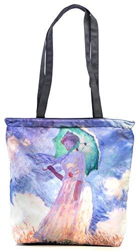 Shopper Einkaufstasche Shopping Bag Damen Kunst Motiv Monet Frau MIT Sonnenschirm