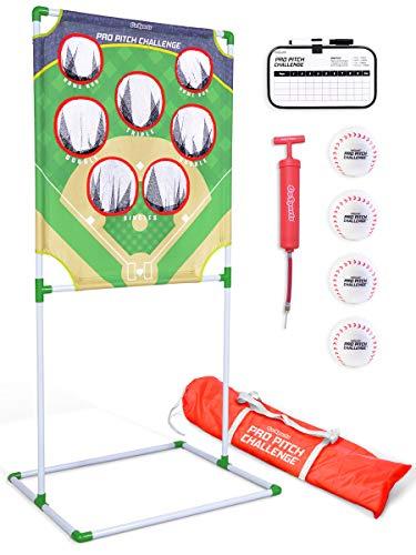 GoSports Pro Pitch Challenge Baseball Toss Game Set | Includes Target, 4 Baseballs, Scoreboard and Case