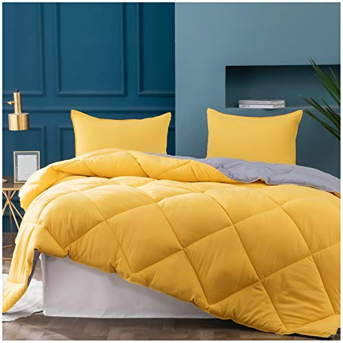 Kasentex 2-Tone Reversible Comforter Set with Plush Down Alternative Filling - Fluffy, Hypoallergenic and Machine Washable, Twin, Mimosa Yellow/Victorian Silver