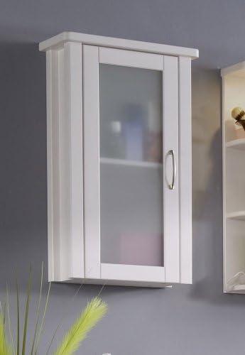 Hängeschrank Badschrank Wandschrank Schrank Badmöbel Glastür Kiefer weiß braun