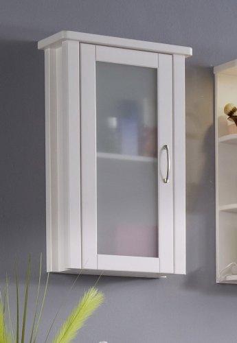 SAM Hängeschrank Valencia, Badschrank in Weiß, Kiefernholz, Landhaus-Stil, mit Milchglastür, Griff in Edelstahl-Optik