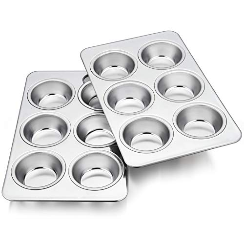 TeamFar Muffin Pan, 6 Cup Muffin Tins Pans for Baking, Cupcake Pan Tray Set Stainless Steel for Making Cakes Cornbread Quiche and More, Healthy & Non Toxic, Oven & Dishwasher Safe - Set of 2