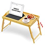 T-SIGN Adjustable Breakfast Bed Tray with Foldable Legs, Heighten Bamboo Serving Table Up to 11.4