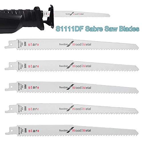 Cuchillas de sierra de sable MASO Combo de sierra de sable de madera y cuchillas de demolición para Bosch, Dewalt, Makita, S1111DF 225 mm de largo de acero de alto carbono HCS paquete de 5 unidades