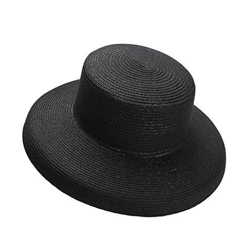 JXLBB zwart hoge koude retro lampenkap stro hoed vrouw grote hoed opvouwbare strand zonnehoed