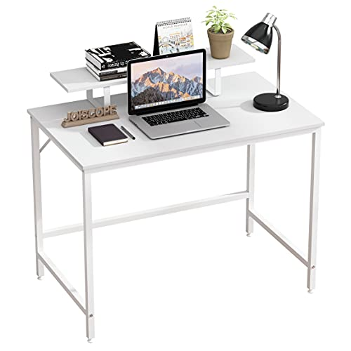 JOISCOPE Computer Desk, Gaming Desk with Shelves, Industrial Table for Home Office, Easy to Assemble, 100 x 60 x 90 cm, White Finish