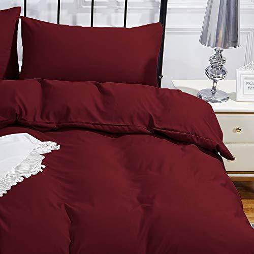 WedDecor Mikrofaser-Bettwäsche-Set für Einzelbett, Burgunderrot, einfarbig, weiches Bettbezug-Set mit Reißverschluss, hypoallergen, Bettbezug mit 1 Kissenbezug, Einzelbett (135 x 200 cm)