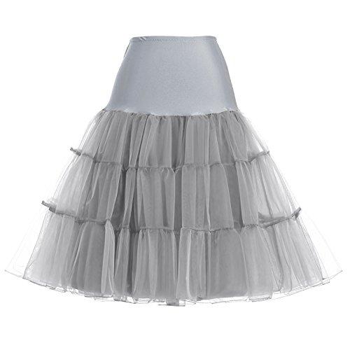GRACE KARIN Vintage Womens 50s Tutu Skirt Petticoat Gray Size XL