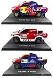OPO 10 - Lote de 3 Coches 1/43 Rally Dakar Compatible con Toyota Hilux 2017 (LDK6)