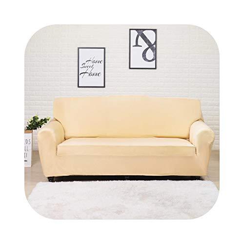 Hylshan Funda de sofá de color sólido con gran elasticidad para sofá de esquina, sofá esquinero, funda para muebles de 1/2/3/4 plazas, color beige, 2 plazas, 145-185 cm