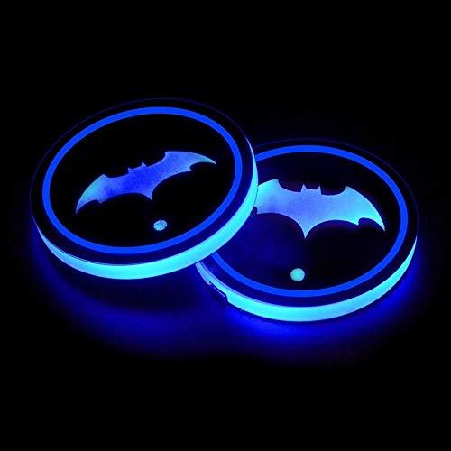 Luces de atmósfera del logotipo del coche 7 colores conmutable Cambio de carga USB Logo del coche LED del sostenedor de taza del coche del cojín Ambiente de la lámpara LED de la taza del sostenedor de