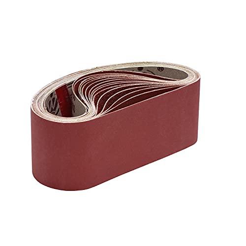KITEOAGE Sanding Belts, 75 x 457mm Sanding Belt Set of 80/120/150/240/400 Assorted Grits for Belt Sander Polishing, Aluminum Oxide Grinding Discs (15 Pack)