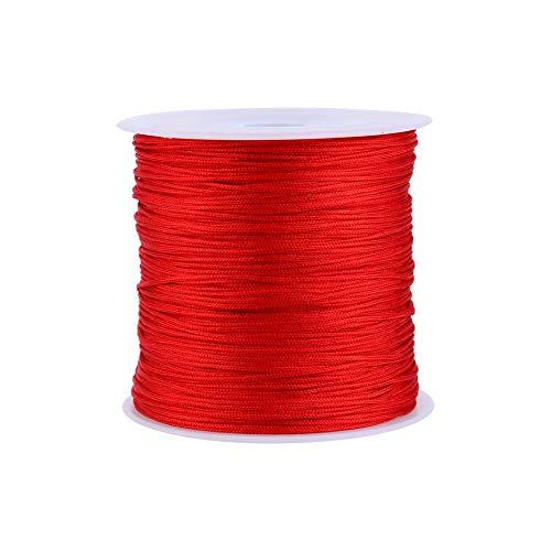 Cuerda de Hilo de Nudo Chino Cola de Ratón Macramé Shamballa Cuerda de Hilo 100m x 0.8mm, 10colors Usted Puede Elegir. (Color : Red)