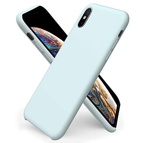 ORNARTO Custodia in Silicone Liquido per iPhone XS, iPhone X Cover Sottile in Silicone Liquido in Gomma Gel Morbida per iPhone XS/X (2018) 5,8 Pollici-Schiuma Marina