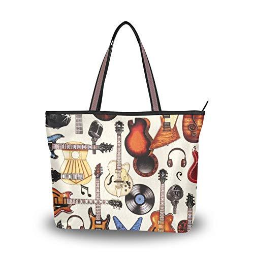 NaiiaN Bolso de mano para compras para mujeres, niñas, señoras, estudiantes, guitarras eléctricas, bolso de mano, correa de peso ligero, bolsos de hombro