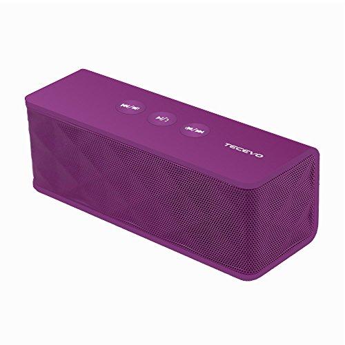 TECEVO T4 NFC Altavoz inalámbrico Bluetooth con graves mejorados, portátil y recargable integrado micrófono 10W RMS 146mm x 56mm x 32mm morado
