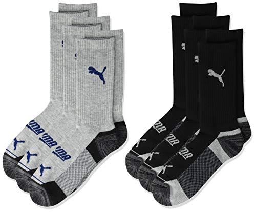 PUMA boys Crew Socks, Grey/Navy, 7-8.5 US