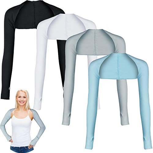 4 Pairs Cooling Shawl Arm Sleeves Sun Protection for Women Men with Finger Hole for Golfing, Driving, Riding, Fishing