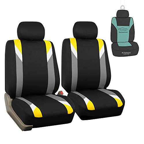 FH Group FB033102 Premium Modernistic Pair Set Seat Covers Yellow/Black with Gift - Fit Most Car, Truck, SUV, or Van