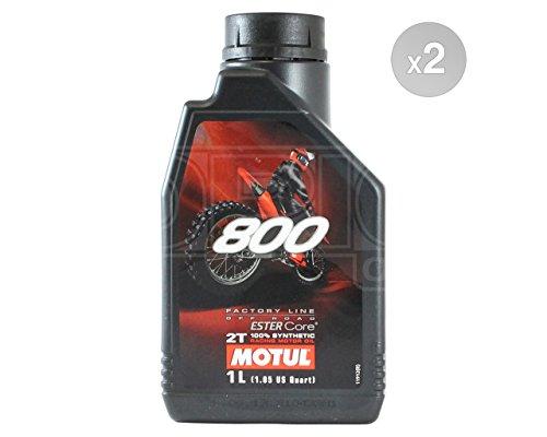 Motul 800 2T Factory Line Off Road Huile moteur entièrement synthétique pour moto – 2 x 1 litre